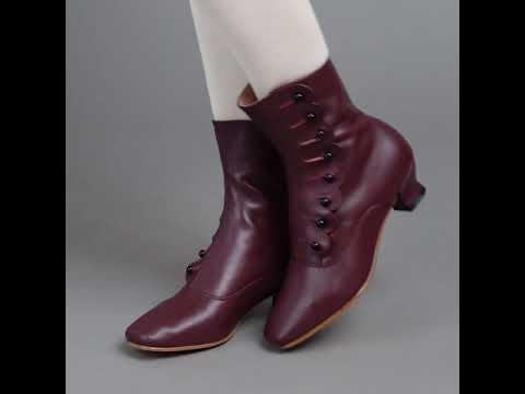 Renoir Women's Victorian Button Boots (Merlot)