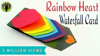 Rainbow Heart | Love Waterfall Card For Valentines Day - DIY Tutorial By Paper Folds #605