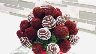 Red Velvet Berry BOUQUET/ DIY Chocolate Covered  Strawberries Arrangement- DIY Edible Arrangement