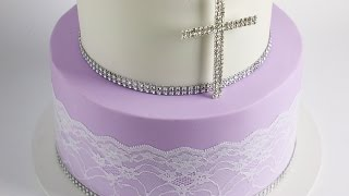 Simple Two Tier Communion Cake-  Rosies Dessert Spot
