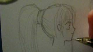 How to draw a female anime face, side view