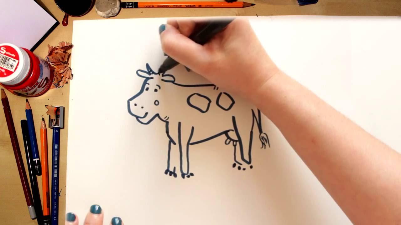 Como dibujar una Vaca - dibujos para niños