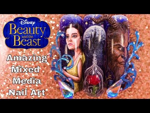 Beauty and the Beast – Mixed Media Nail Art – Hand Painted, 3D Acrylic, 3D Hard Gel Design