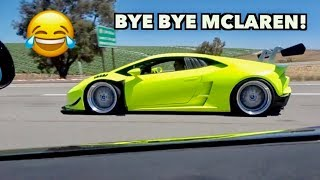 COCKY MCLAREN DESTROYED BY TWIN TURBO LAMBORGHINI!
