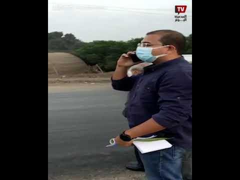 محافظ القليوبية يوقف سيارته لإسعاف شاب وقع بدراجته النارية على الطريق الزراعي
