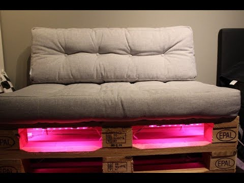 Palettensofa selber bauen mit LED Beleuchtung - NewWonder555