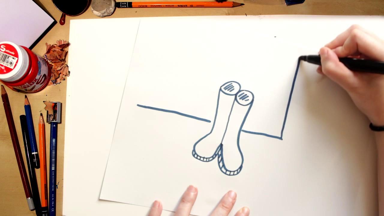 Como desenhar Botas de Chuva - desenhos para crianças