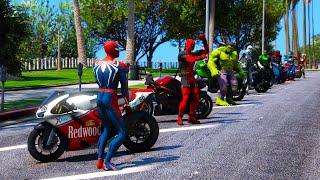 Moto Сhallenge SpiderMan and Hulk Superheroes GTAV ! Мото-испытание Супер Героев Человек-паук и Халк