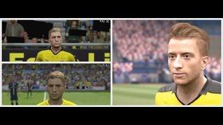 FIFA 14 VS FIFA 15 VS FIFA 16 VS FIFA 17 graphics FACE VS real life