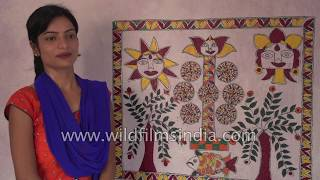 Indian girl draws a Mithila painting in Darbhanga district of Bihar