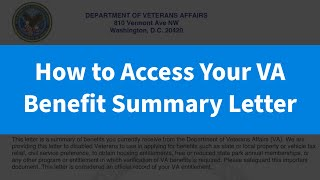How to Access Your VA Benefit Summary Letter
