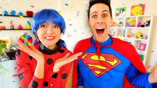 SUPERMAN VS LADYBUG MIRACOLOUS! Festa Di CARNEVALE In Casa!!