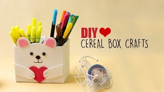Cereal Box Crafts | Diy Desk Organiser | Back To School