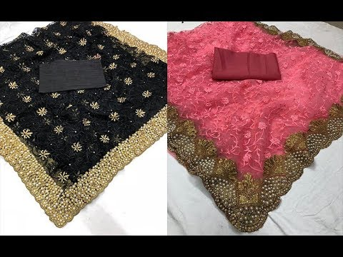 Stylish Pearl Work Net Thread Work Sarees With Blouse || Bridal Pearl Work Net Thread Work Saree