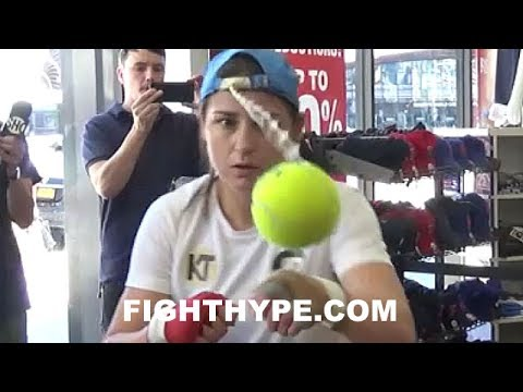 KATIE TAYLOR DISPLAYS CAT-LIKE REFLEXES AND FOCUS USING TENNIS BALL HAT