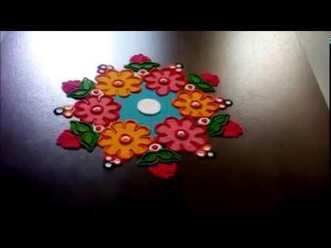 easy rangoli design by shital mahajan