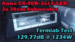 Auna C8-SUB-2x12-LED 2x 30cm Subwoofer Test Auto Termlab DB Messung an Ground Zero GZCA 5.0SPL-M1