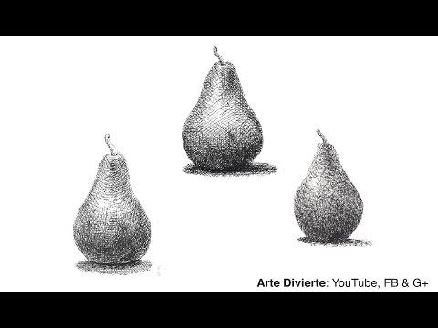 Cómo hacer el sombreado - Cómo dibujar una pera con tinta - con pluma fuente