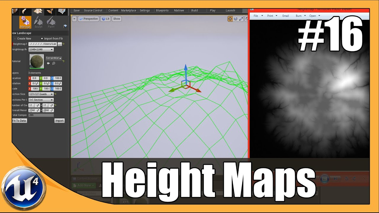 Importing & Using Height maps - #16 Unreal Engine 4 Beginner Tutorial Series