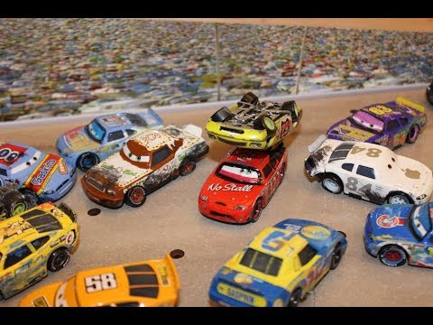 Disney Cars Custom Damaged Piston Cup Racers (Motor Speedway Of The South Crash)