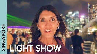 SINGAPORE at NIGHT: Marina Bay Sands light show & street food market