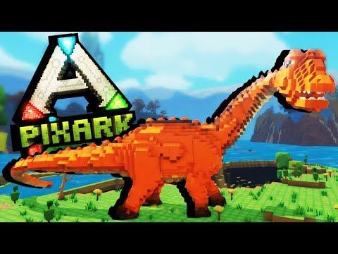 First Dinosaur Taming and Skeleton Dungeon Raid! - PixArk Gameplay - Pixark Ep. 1