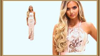 Maxi Dress Decorated With Gold Sequins || Relax 165