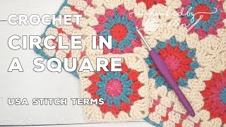 Granny Circle In A Square | How To Crochet Tutorial (Easy Beginners Pattern!)
