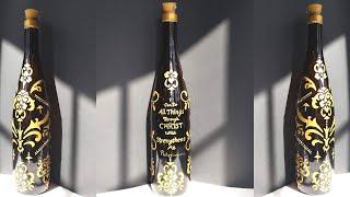 DIY Wine Bottle Design Using Stencils | Bottle Art | Wine Bottle Crafts | HD