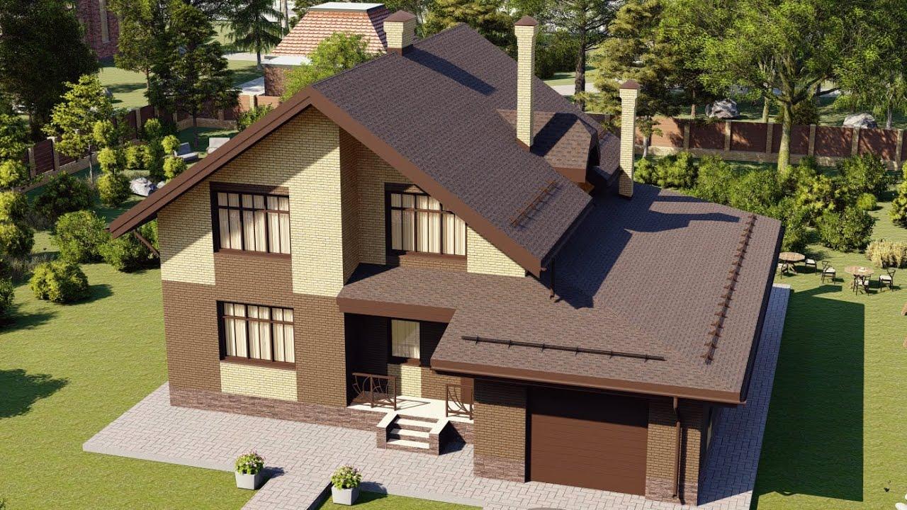 Проект дома с мансардой из газобетона с гаражом на 2 авто 201 кв м