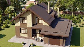 Проект дома 201-B, Площадь дома: 201 м2, Размер дома:  14,8x13,2 м