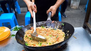 Chinese Street Food -Night market master chef iron pan egg fried rice and noodle collection