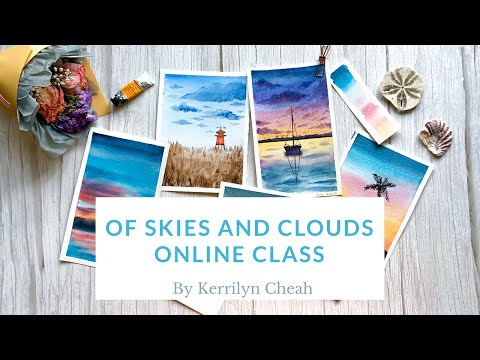 """Online Watercolor Course """"Skies and Clouds"""" Introduction"""