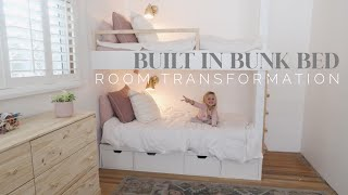 BEFORE + AFTER BUILT IN BUNK BED | Girl Bedroom Transformation