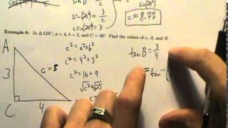 Trig Applications - Example 6 - Solving A Right Triangle