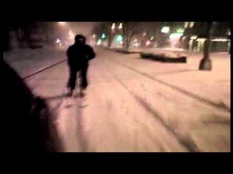 Car-Towed Guy Skiing Like A Mad Man Through New York