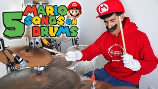 My Top 5 MARIO Songs On DRUMS! | *Drum Cover*