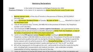 Statutory Declaration Canada -Sample Letter for Canada Visa
