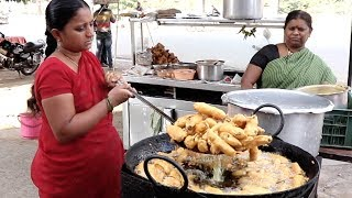 Best Hyderabad STREET FOOD Ever | Indian Popular Street Food | Mirchi Bajji Recipe | Telugu Adda