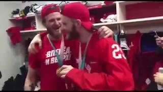 Видео из чемпионской раздевалки сборной России по хоккею после победы на Олимпиаде 2018