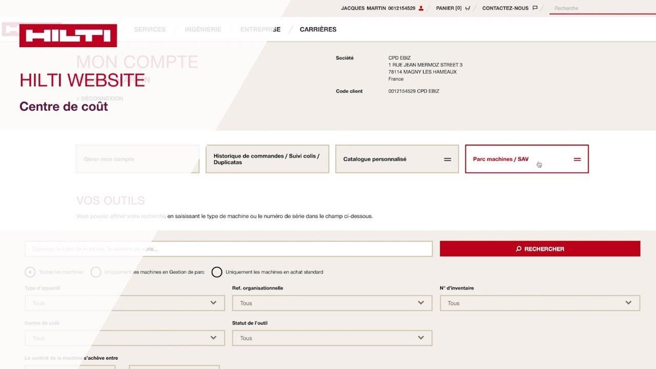 Comment gérer ses centres de coûts sur hilti.fr ?