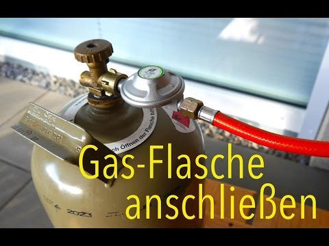 Gas Flasche an Gasgrill anschließen Anleitung