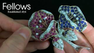 A Mid 20th Century Diamond Ruby And Sapphire Floral Brooch