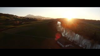 Flying into sunset in a FPV Racing Drone