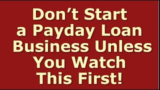 How to Start a Payday Loan Business | Including Free Payday Loan Business Plan Template