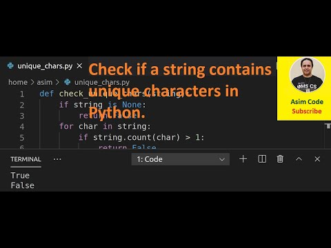 How to check if a string contains unique characters in Python