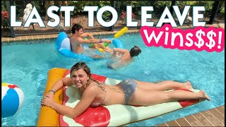 LAST SIBLING TO LEAVE THE POOL WINS! | THREE TEENS COMPETE IN NANA'S POOL