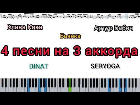 4 песни на 3 аккорда (кавер на пианино + ноты)