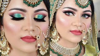 मुस्लिम ब्राइडल मेकअप Indian MUSLIM Bridal Makeup Tutorial Golden Green Glitter Eye Makeup