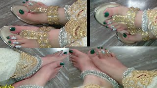 My New Footwear || My New Nail Paint Collection || Silver Anklets Design #footwear